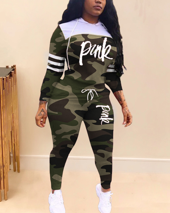 Camo & Letter Print Drawstring Hooded Top & Pants Set gallery 1