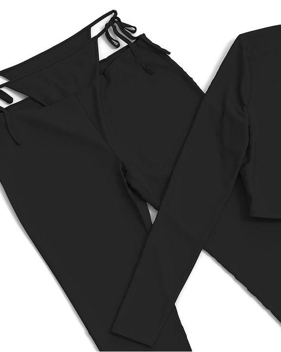 Solid Rib-Knit Tie Waist Top & Pants Set gallery 17
