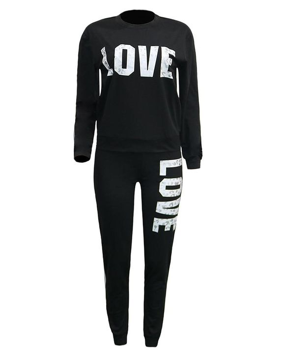 Letter Print Round Neck Long Sleeve Top & Pants Set gallery 6