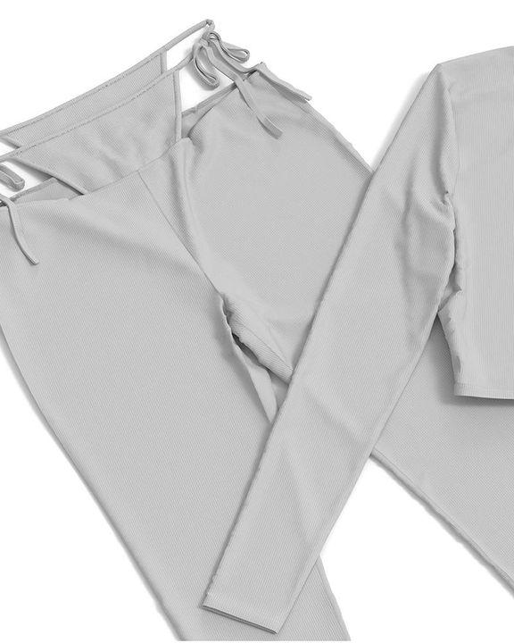 Solid Rib-Knit Tie Waist Top & Pants Set gallery 19