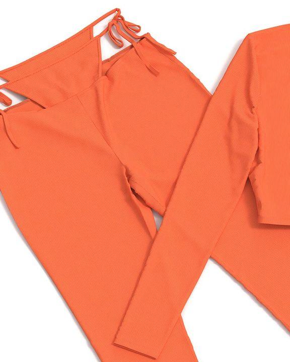 Solid Rib-Knit Tie Waist Top & Pants Set gallery 15