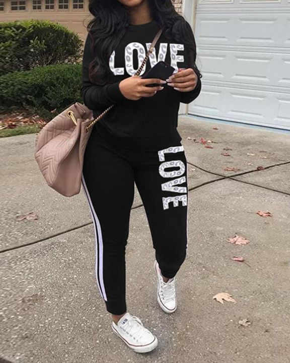 Letter Print Round Neck Long Sleeve Top & Pants Set gallery 1