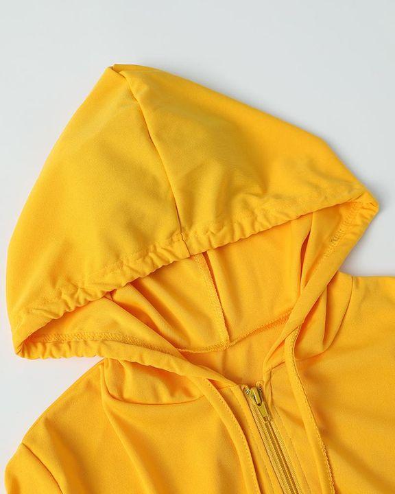 Solid Zip Up Dual Pocket Hooded Top & Pants Set gallery 17