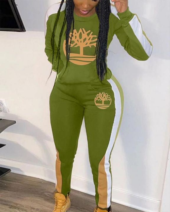 Tree Graphic Side Striped Top & Pants Set gallery 2