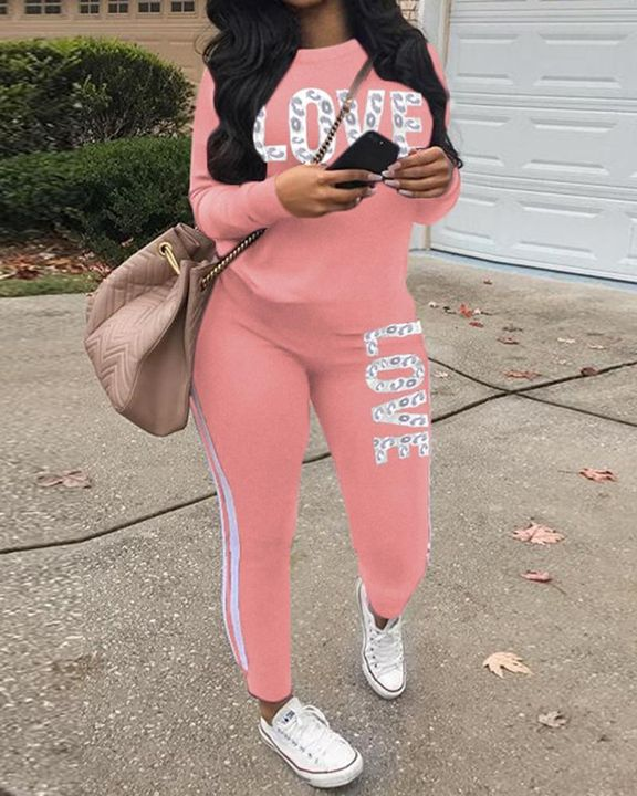 Letter Print Round Neck Long Sleeve Top & Pants Set gallery 5