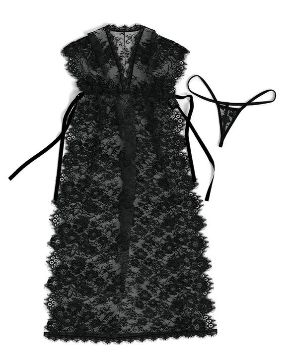 Eyelash Sheer Floral Lace Split Hem Nightdress With Panty gallery 8