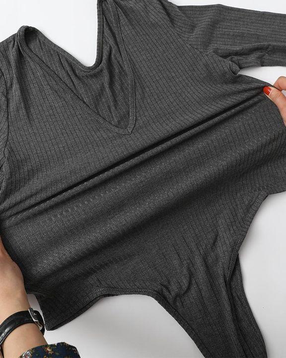 Solid Ribbed Scoop Neck Long Sleeve Bodysuit gallery 16