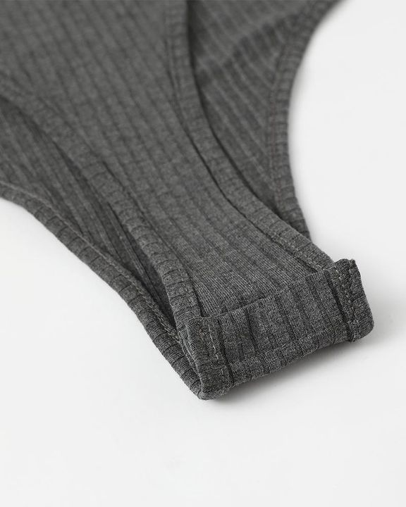 Solid Ribbed Scoop Neck Long Sleeve Bodysuit gallery 19