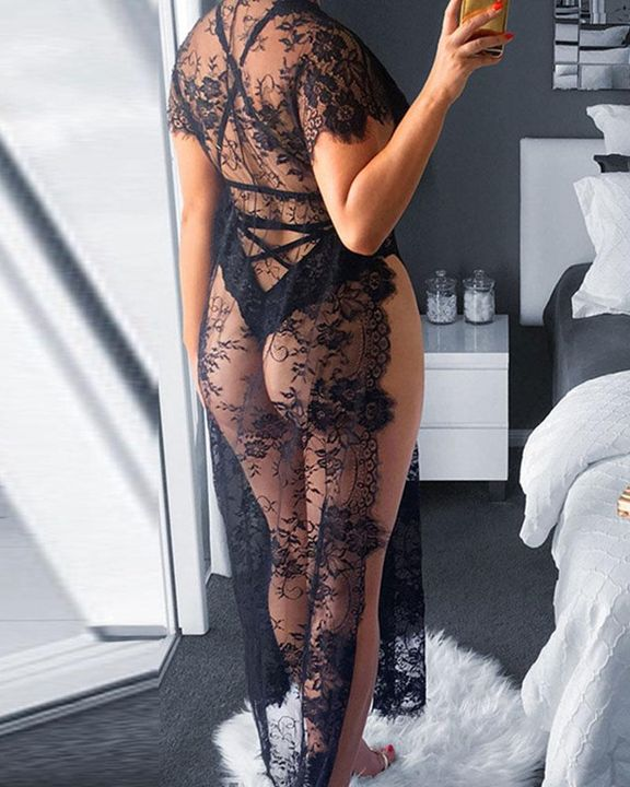 Eyelash Sheer Floral Lace Split Hem Nightdress With Panty gallery 4