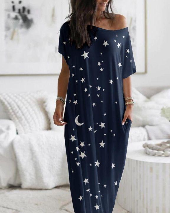 Stars Print Dual Pocket Maxi Dress gallery 2