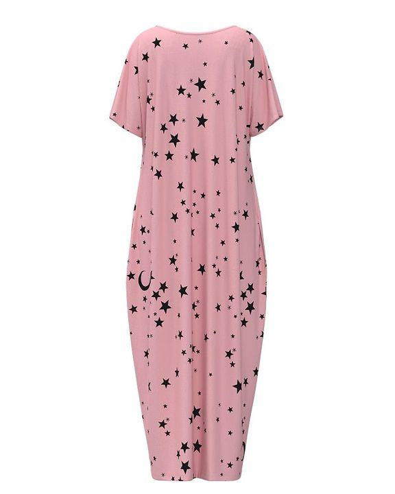 Stars Print Dual Pocket Maxi Dress gallery 13