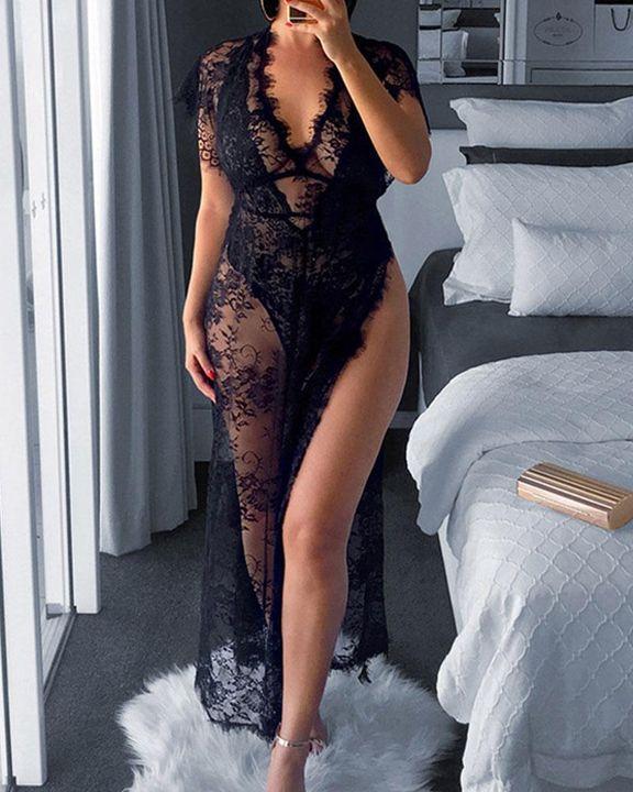 Eyelash Sheer Floral Lace Split Hem Nightdress With Panty gallery 1
