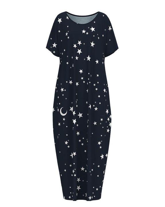 Stars Print Dual Pocket Maxi Dress gallery 5