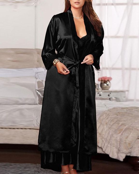 Satin Lace Trim Self Belted Robe gallery 1