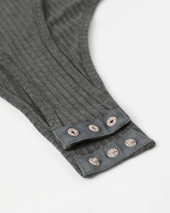 Solid Ribbed Scoop Neck Long Sleeve Bodysuit gallery 18
