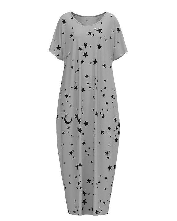 Stars Print Dual Pocket Maxi Dress gallery 15