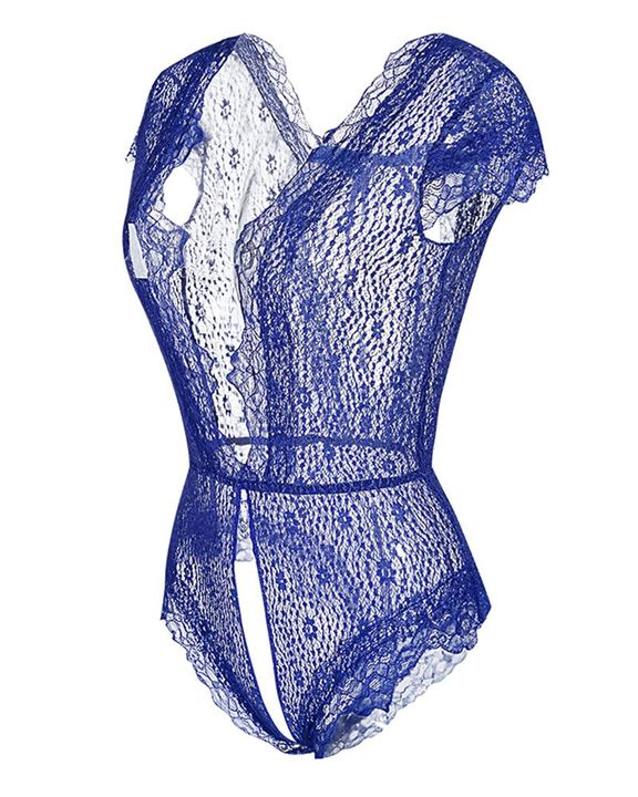 Floral Lace Crotchless Back Tie Teddy Bodysuit gallery 6