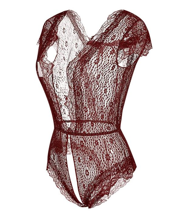 Floral Lace Crotchless Back Tie Teddy Bodysuit gallery 3