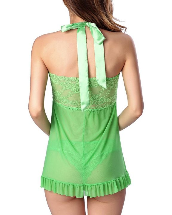 Frill Trim Mesh Halter Slips With Thong gallery 8
