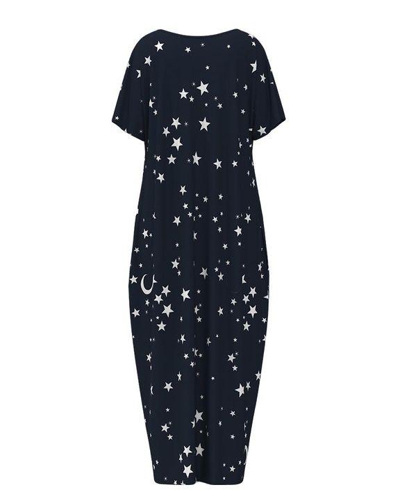 Stars Print Dual Pocket Maxi Dress gallery 7