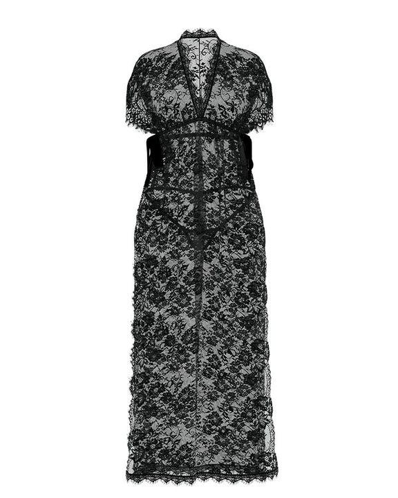 Eyelash Sheer Floral Lace Split Hem Nightdress With Panty gallery 7