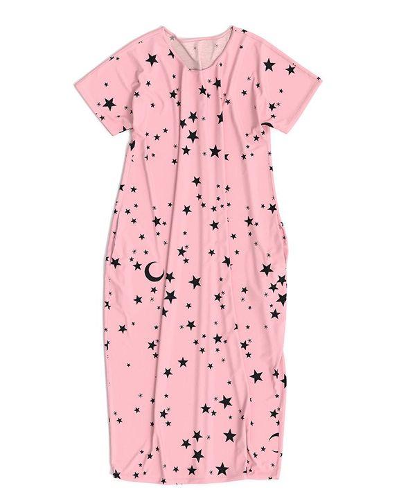 Stars Print Dual Pocket Maxi Dress gallery 14