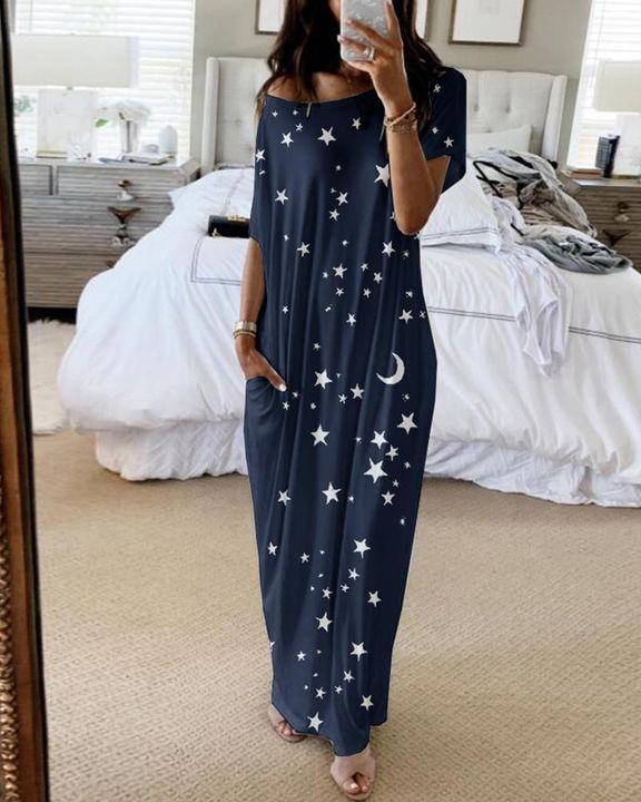 Stars Print Dual Pocket Maxi Dress gallery 3