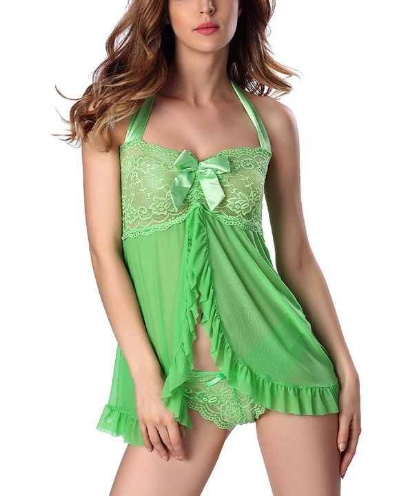 Frill Trim Mesh Halter Slips With Thong gallery 2