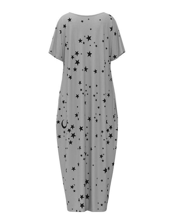 Stars Print Dual Pocket Maxi Dress gallery 17