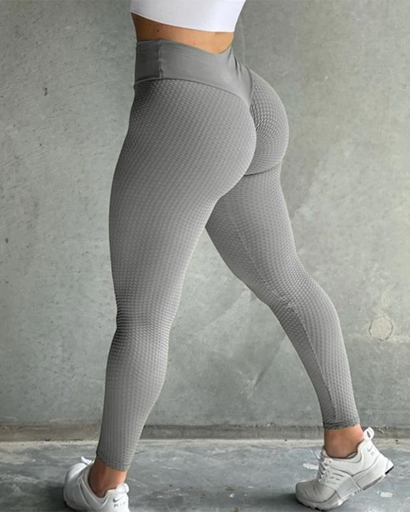 Solid Textured Butt Lifting Sports Leggings gallery 3
