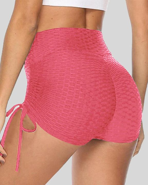 Solid Ruched Tie Side Butt Lifting Shorts gallery 9