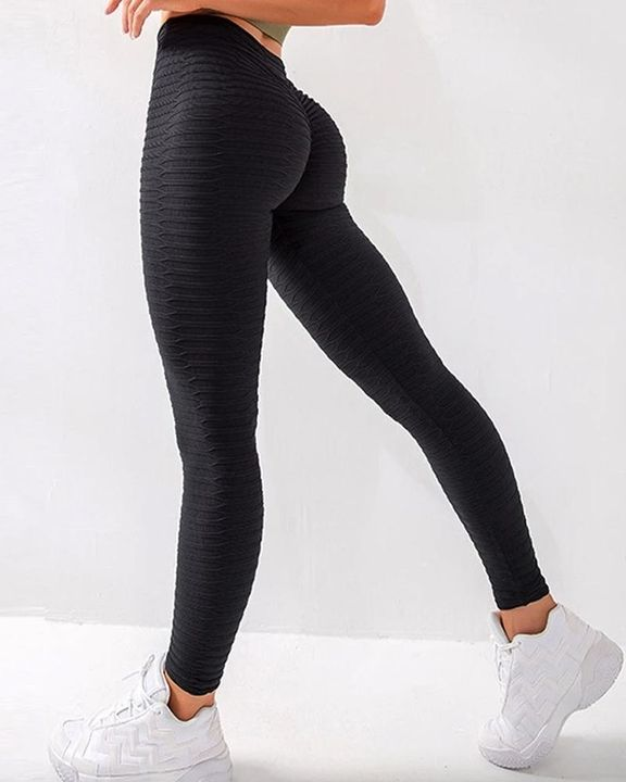 Solid Textured Butt Lifting Stretch Workout Leggings gallery 4
