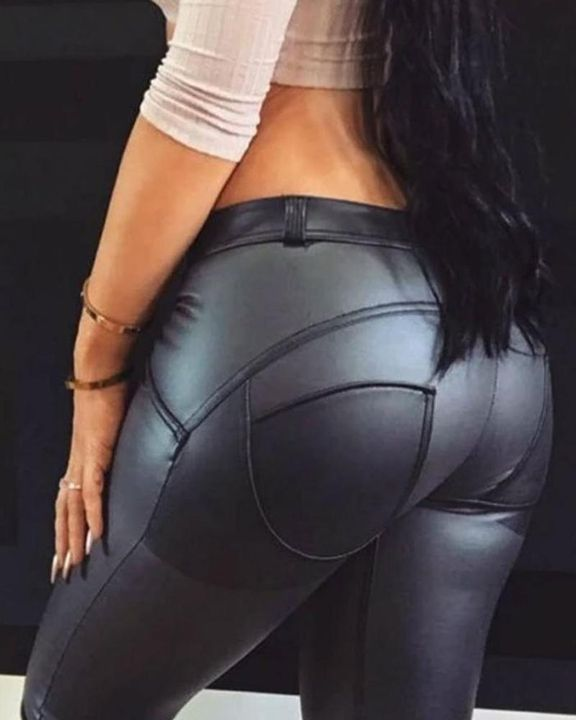 HyperFlex Hip-Lifting Faux Leather Sports Leggings gallery 1