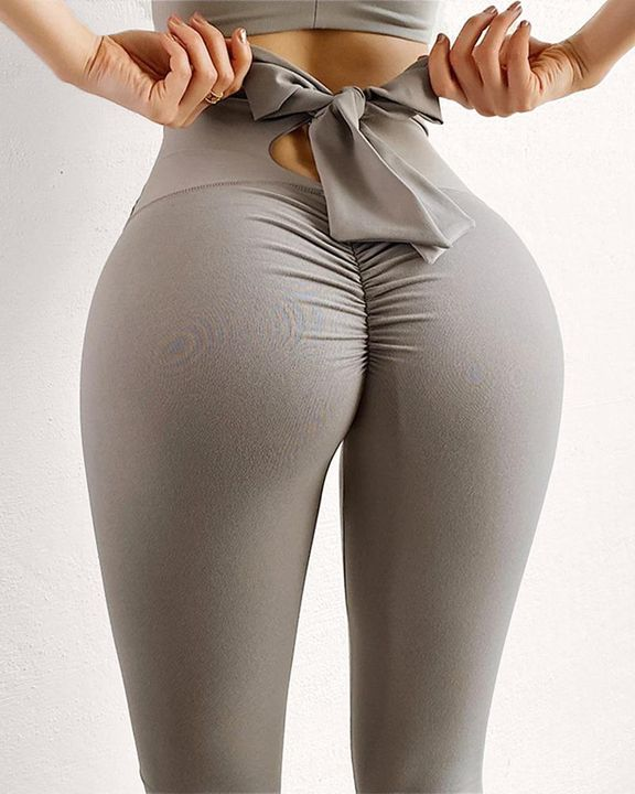 Ruched Bow Tie Back Sports Leggings gallery 1