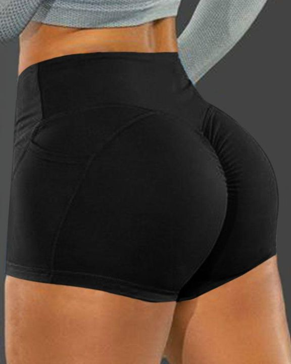 Side Pocket Solid Butt Lifting Shorts gallery 1