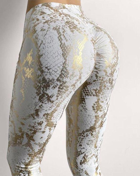 Snakeskin Print Butt Lifting Sports Leggings gallery 1