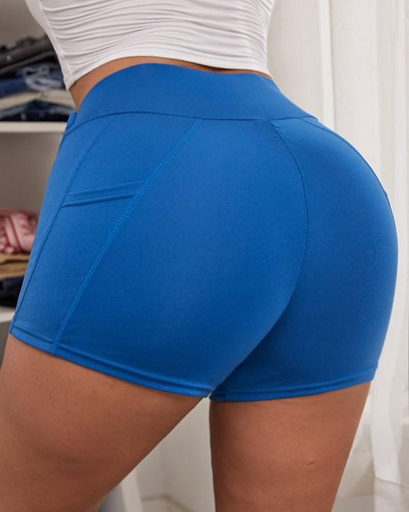 Side Pocket Solid Butt Lifting Shorts gallery 2