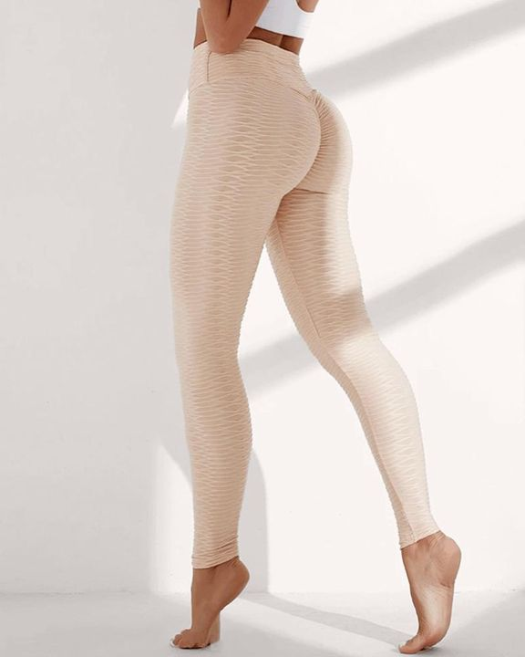 Solid Textured Wide Waistband Sports Leggings gallery 1