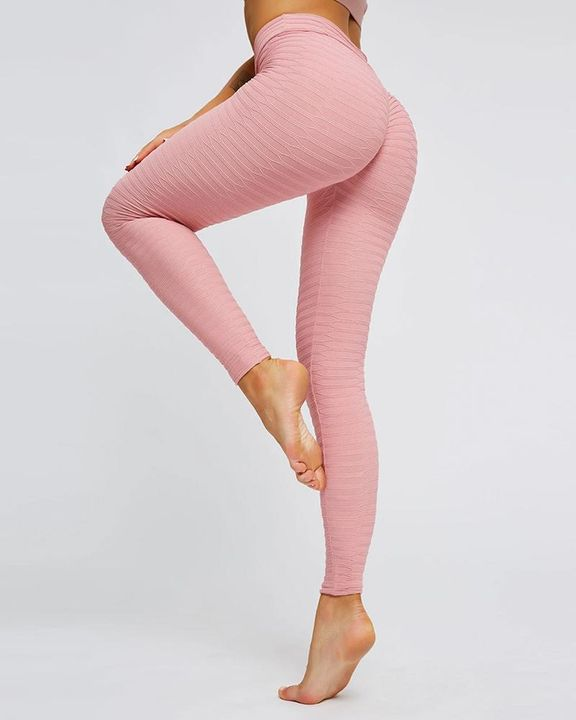 Solid Textured Butt Lifting Stretch Workout Leggings gallery 10