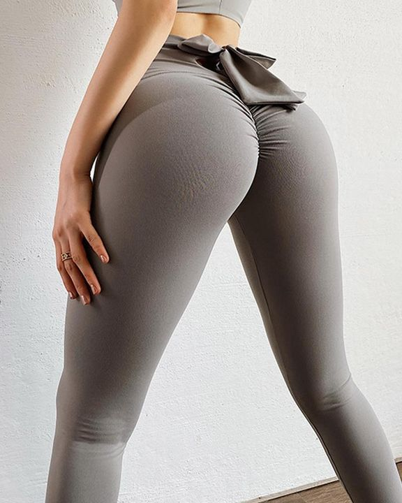 Ruched Bow Tie Back Sports Leggings gallery 7
