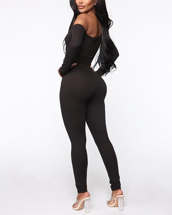 Solid Boat Neck Long Sleeve Sports Jumpsuit gallery 3