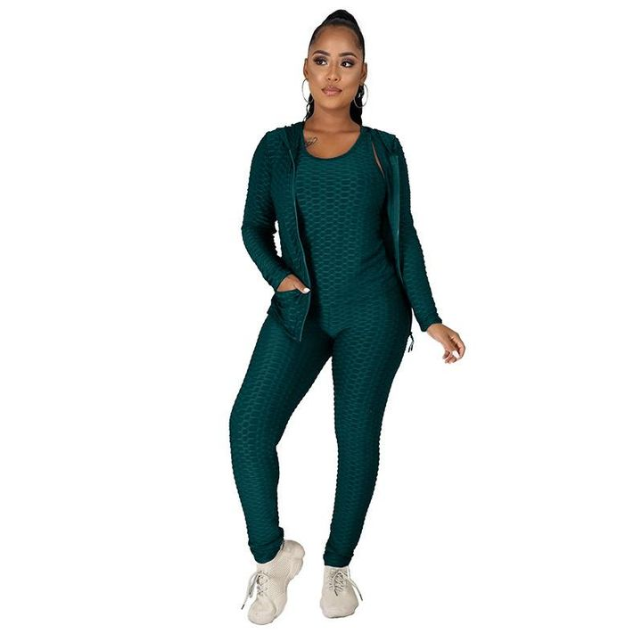 Textured Dual Pocket Ruched 3 Piece Set gallery 20