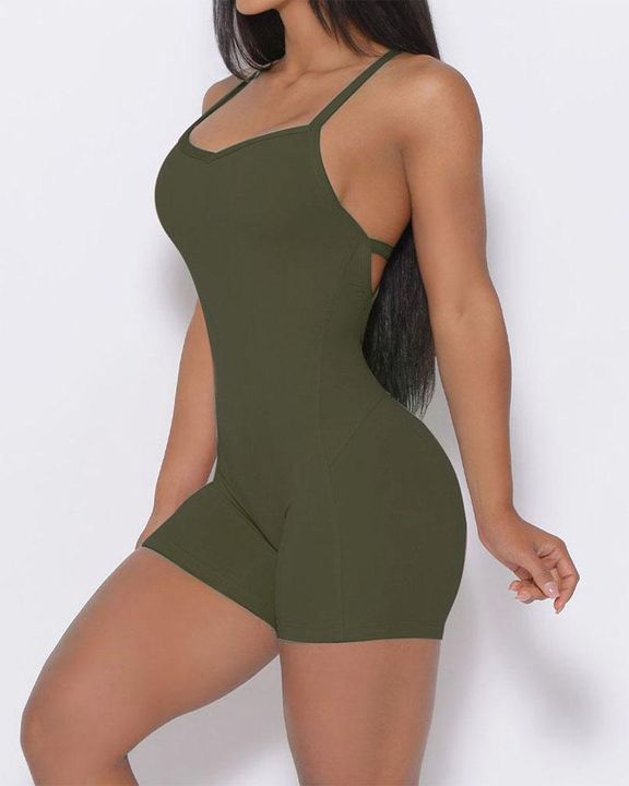 Solid Criss Cross Backless Cami Sports Romper gallery 16