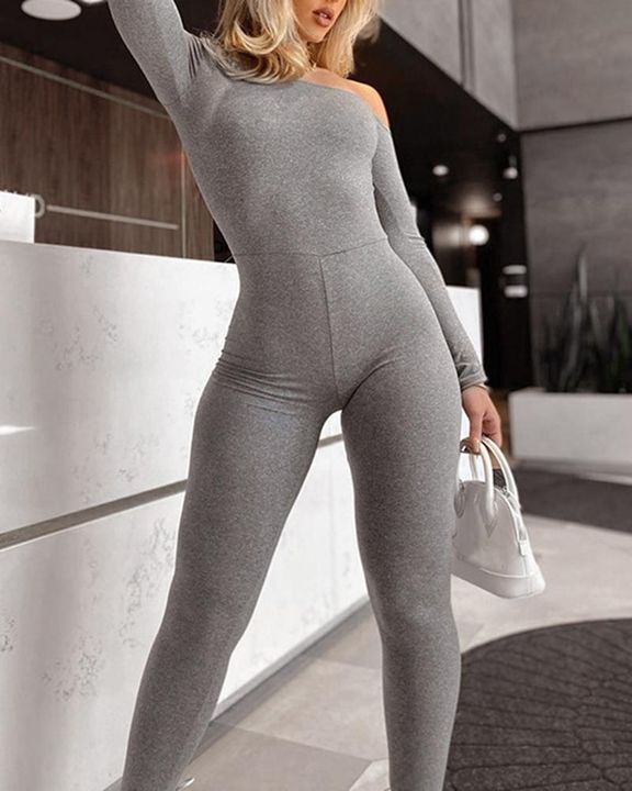 Solid Boat Neck Long Sleeve Sports Jumpsuit gallery 1