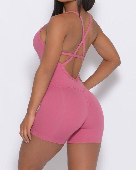 Solid Criss Cross Backless Cami Sports Romper gallery 2