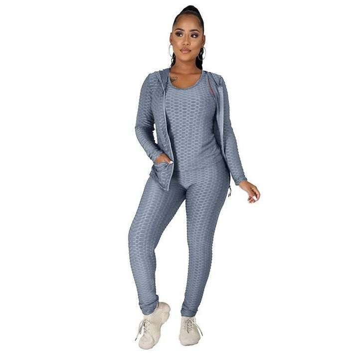 Textured Dual Pocket Ruched 3 Piece Set gallery 18