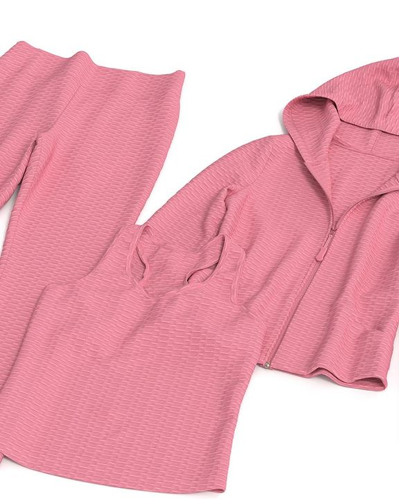 Textured Dual Pocket Ruched 3 Piece Set gallery 29