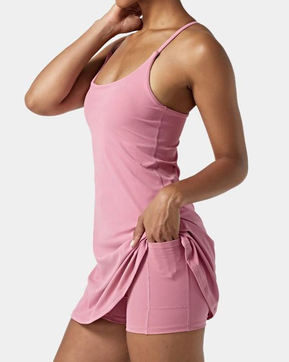 Solid Pocket Inside Cami Sports Dress gallery 3