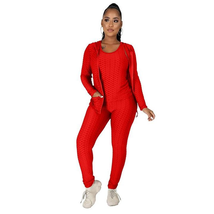 Textured Dual Pocket Ruched 3 Piece Set gallery 17