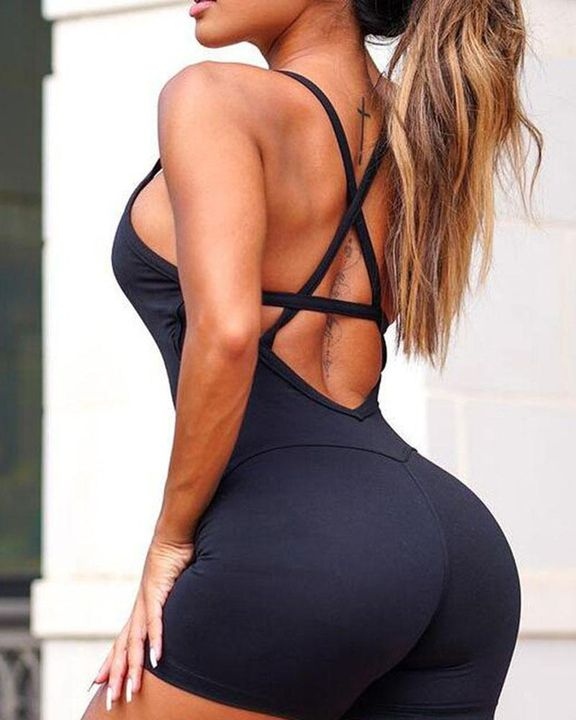 Solid Criss Cross Backless Cami Sports Romper gallery 12